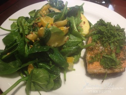 Broiled salmon with tangerine and pear spinach salad