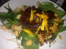 Grilled Mahi on Dry mango and mushroom spinach salad-Mena's Food Pics-2