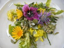 Edible flowers salad with white balsamic reduction