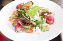 Sesame rasperry albergine salad