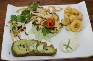 hearts of palm calamari with roasted coliflower
