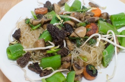 Thai style glass noodles with re-hydrated mushrooms