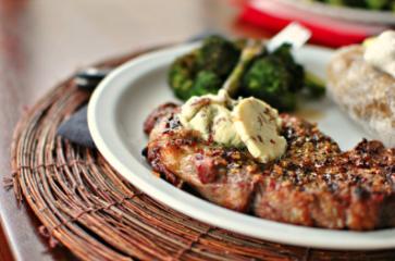 1. Vegan - DINNER - Lavender vegan blue cheese crusted seitan filet
