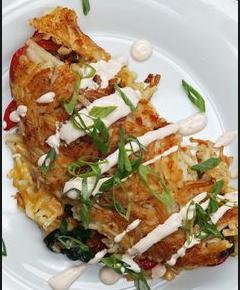 Potato hashbrown omelete