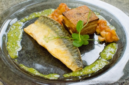 www-chefmena-com-ashburton-uk-pan-fried-mackerel-fillet-with-cannellini-bean-and-tomato-stew-crispy-pork-belly-and-salsa-verde